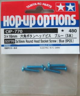 Picture of Tamiya 3x 16mm  Round Head Socket Screws (5pcs) / Blue 53770