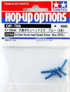 Picture of Tamiya 3x 12mm  Round Head Socket Screws (5pcs) / Blue 53768