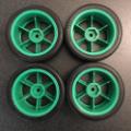 Picture of Tamiya Racing Slicks on Green Spoked Wheels 5222-4826 (4pc Set)
